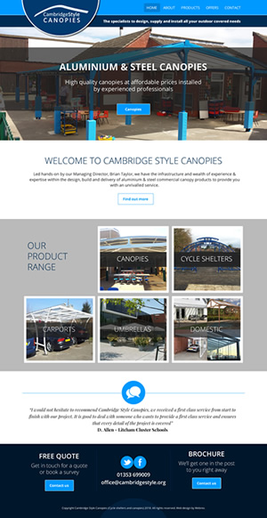 Cambridge Style Canopies Web Design
